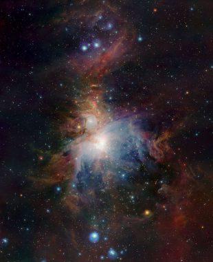 VISTA-Aufnahme des Orionnebels in infraroten Wellenlängen. (ESO / J. Emerson / VISTA; Acknowledgment: Cambridge Astronomical Survey Unit)