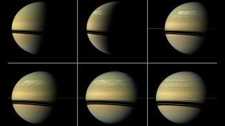 Diese Bildserie der NASA-Raumsonde Cassini zeigt die Entwicklung eines riesigen Sturms des Typs, der auf Saturn etwa alle 30 Jahre auftritt. (NASA / JPL-Caltech / SSI)