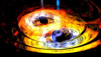 Eine frühere Illustration zweier Schwarzer Löcher, die gravitativ aneinander gebunden sind. (NASA)