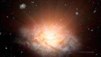 Künstlerische Illustration des neuen Rekordhalters für die hellste Galaxie im Universum. (NASA / JPL-Caltech)