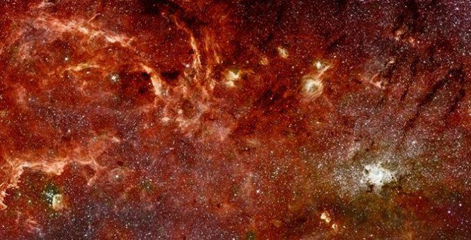 Mosaik-Aufnahme des galaktischen Zentrums, basierend auf Daten der Weltraumteleskope Hubble und Spitzer. (NASA / ESA)