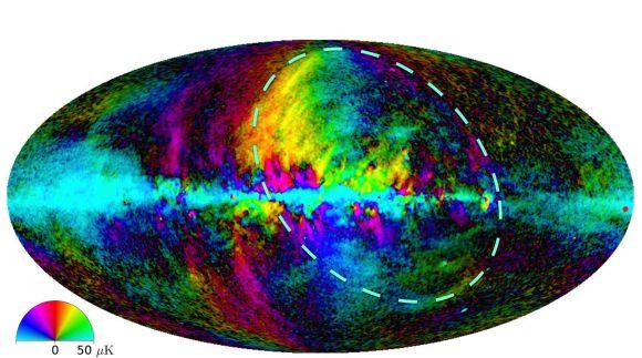 Eine Himmelskarte, erstellt mit Daten des Planck-Satelliten. Loop 1, markiert durch die gestrichelte Ellipse, ist die gelbe Struktur oberhalb des Zentrums, die ins Violette übergeht, sowie der violette Bogen unterhalb des Zentrums. Die Farben repräsentieren den Winkel des Magnetfeldes, und die Helligkeit zeigt die Signalstärke an. (M. Peel / JCBA / Planck / ESA)
