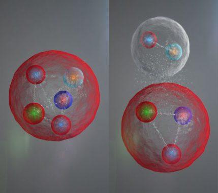 Illustration der möglichen Anordnung der Quarks in einem Pentaquark-Teilchen. Die fünf Quarks könnten eng aneinander gebunden sein (links). Sie könnten auch in einem Meson (ein Quark und ein Antiquark) und einem Baryon (drei Quarks) angeordnet sein, die schwach aneinander gebunden sind (rechts). ((c) CERN / LHCb Collaboration)