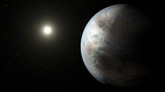 Illustration des Exoplaneten Kepler-452b im Orbit um seinen sonnenähnlichen Zentralstern Kepler-452. (NASA / JPL-Caltech / T. Pyle)