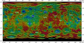 Diese Falschfarbenkarte basiert auf Daten der NASA-Raumsonde Dawn und zeigt die Höhen und Tiefen der Topografie auf der Oberfläche des Zwergplaneten Ceres. (NASA / JPL-Caltech / UCLA / MPS / DLR / IDA)