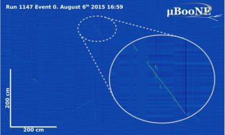 Dieses Bild zeigt das erste Ereignis kosmischer Strahlung, das von MicroBooNE am 6. August 2015 registriert wurde. (Image: MicroBooNE)