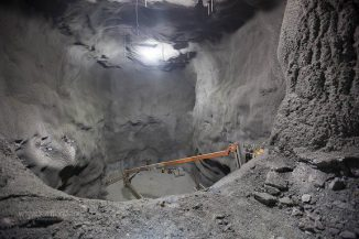 Das Large Underground Xenon (LUX) Experiment befindet sich in dieser früheren Mine fast 1.500 Meter unter der Erde in South Dakota (USA). (Matt Kapust, Sanford Underground Research Facility)