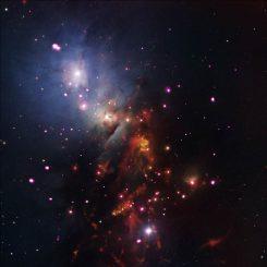 Dieses Bild des Reflexionsnebels NGC 1333 und des darin eingebetteten Sternhaufens basiert auf Röntgendaten (Chandra), Infrarotdaten (Spitzer) und optischen Daten (Digitized Sky Survey, Mayall Telescope). (NASA / CXC / JPL-Caltech / NOAO / DSS)