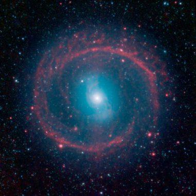 Spitzer-Aufnahme der Balkenspiralgalaxie NGC 1291. (NASA / JPL-Caltech)