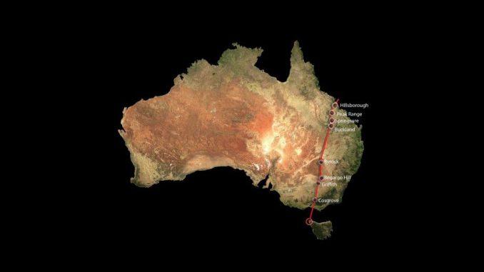 Die Spur der Cosgrove-Vulkankette durch den australischen Kontinent. (Drew Whitehouse, NCI National Facility VizLab)
