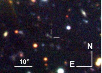 Ein optisches Bild eines Himmelsausschnitts mit einer schwachen Galaxie (weiße Markierung), wo im Jahr 2014 ein Gammastrahlenausbruch (GRB) stattfand. Die Studie ergab, dass sein Ursprung eine Supernova war. Dennoch zeigt er Anzeichen für Schockwellen, die typisch für einen anderen GRB-Typ sind. (Cano et al.)