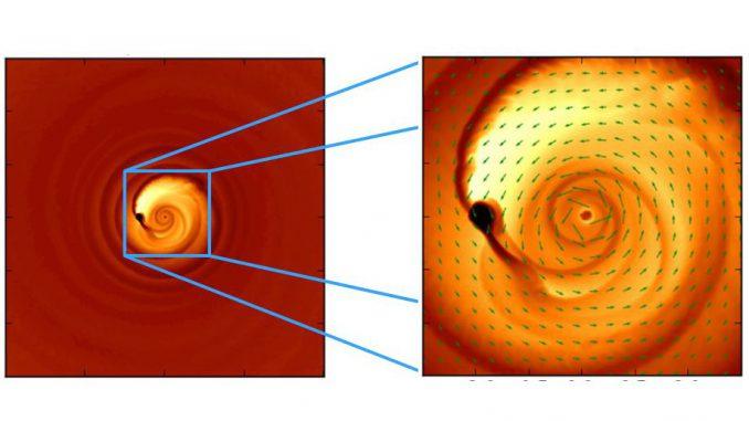 Diese Simulation hilft bei der Erklärung eines seltsamen Lichtsignals, das vermutlich von einem engen Paar verschmelzender Schwarzer Löcher stammt. Das System ist etwa 3,5 Milliarden Lichtjahre entfernt. (Zoltan Haiman, Columbia University)