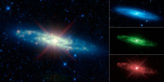 Infrarotaufnahme der Sculptor-Galaxie vom Wide-field Infrared Survey Explorer (WISE). (NASA / JPL-Caltech / UCLA)