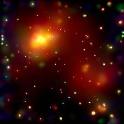 Chandra-Aufnahme des Galaxienhaufens Abell 2125 mit seinen Galaxien und sehr heißen Gaswolken, die sich in einem Verschmelzungsprozess befinden. Einer neuen Studie zufolge spielt die Umgebung eine wichtige Rolle bei der Materieakkretion der Schwarzen Löcher in den Galaxien. (NASA / CXC / UMASS / Q. D. Wang et al.)