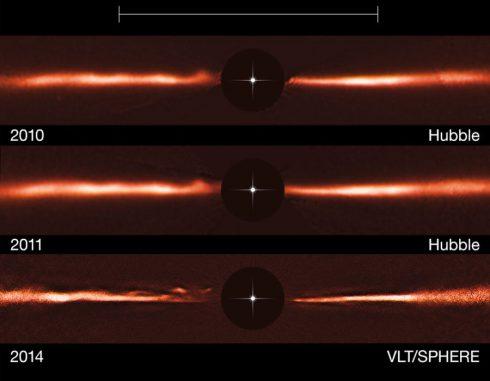 Diese Aufnahmen zeigen die Veränderungen in der Staubscheibe des Sterns AU Microscopii. (ESO, NASA & ESA)