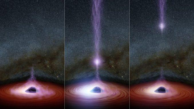 Diese Grafiken zeigen eine sich verändernde Struktur, die Korona, die einen Röntgenausbruch in der Nähe eines Schwarzen Lochs erzeugen kann. (NASA / JPL-Caltech)