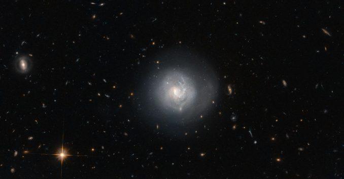 Markarian 820, aufgenommen vom Weltraumteleskop Hubble. (ESA / Hubble & NASA and N. Gorin (STScI); Acknowledgement: Judy Schmidt (http://www.geckzilla.com/)