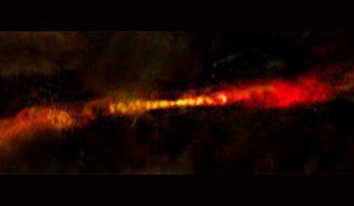 Die abströmenden Jets des Protosterns CARMA-7 sind jeweils fast 1,5 Billionen Kilometer lang. (B. Saxton (NRAO / AUI / NSF); A. Plunkett et al.; ALMA (NRAO / ESO / NAOJ))