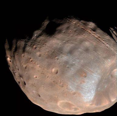 Die auffälligen Rillen auf der Oberfläche des Marsmondes Phobos können von Gezeitenkräften verursacht werden, die den Mond langsam auseinanderreißen. Unten rechts ist der große Krater Stickney zu sehen. (NASA / JPL-Caltech / University of Arizona)