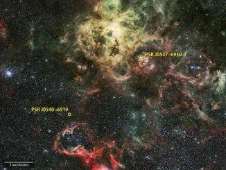 Das Bild zeigt den Tarantelnebel in der Großen Magellanschen Wolke, einer Satellitengalaxie unserer Milchstraßen-Galaxie, in sichtbaren Wellenlängen. Der von Fermi registrierte Pulsar PSR J0540-6919 ist der erste Gammapulsar, der außerhalb unserer Galaxie entdeckt wurde. (NASA / Goddard Space Flight Center; background: ESO / R. Fosbury (ST-ECF))