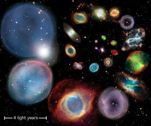Eine Kollage aus 22 planetarischen Nebeln, die in der Reihenfolge ihrer physikalischen Größe angeordnet sind. Die Größe der Nebel wurde mit der neuen Methode berechnet, die auf Nebel aller Größen, Formen und Helligkeiten anwendbar ist. (ESA / Hubble & NASA, ESO, Ivan Bojicic, David Frew, Quentin Parker)