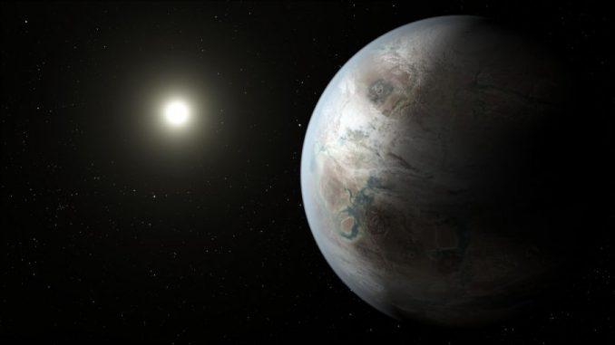 Der Exoplanet Kepler-452b ist ein Cousin der Erde und befindet sich in einem System, das rund 1,5 Milliarden Jahre älter ist als unser eigenes Sonnensystem. Potenziell vorhandenes Leben hätte damit genug Zeit, um sich zu einer technologischen Zivilisation wie auf Coruscant zu entwickeln. (NASA / Ames / JPL-Caltech)