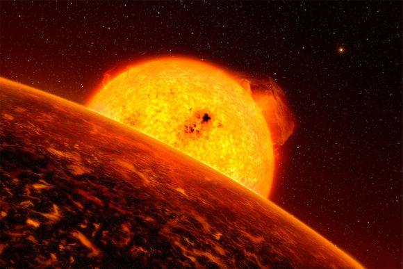Künstlerische Darstellung des Exoplaneten CoRoT-7b vor seinem Stern. (ESO / L. Calcada)