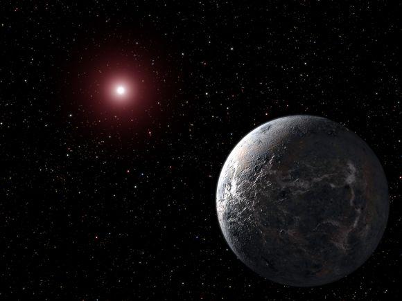 Künstlerische Darstellung des Exoplaneten OGLE-2005-BLG-390, der an den fiktionalen Eisplaneten Hoth erinnert. (NASA, ESA and G. Bacon (STScI))