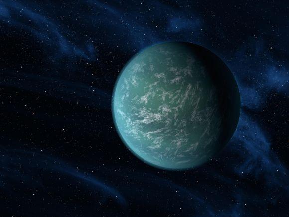 Illustration der Supererde Kepler-22b. Sie könnte wie der fiktive Planet Kamino vollständig von Wasser bedeckt sein. (NASA / Ames / JPL-Caltech)