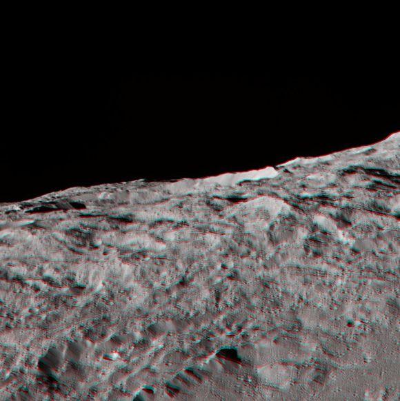 3D-Ansicht einer Region in der südlichen Hemisphäre von Ceres. Den besten 3D-Effekt erzielt man mit einer rot/blauen 3D-Brille. (NASA / JPL-Caltech / UCLA / MPS / DLR / IDA)