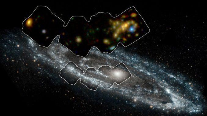 Der umrandete Bereich markiert das Gebiet der Andromeda-Galaxie, das von NuSTAR in energiereichen Röntgenwellenlängen beobachtet wurde, siehe kleines Bild. (NASA / JPL-Caltech / GSFC)