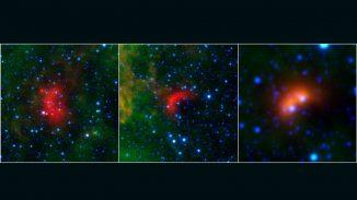 Die roten Strukturen sind die Bow Shocks von massereichen Sternen, die sich schnell durch den interstellaren Raum bewegen. (NASA / JPL-Caltech / University of Wyoming)