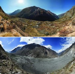 Vorher-Nachher-Bilder des Langtang Valley in Nepal. Sie zeigen die nahezu vollständige Zerstörung des Ortes Langtang durch einen gewaltigen Erdrutsch, der durch das Gorkha-Erdbeben im April 2015 ausgelöst wurde. Die Fotos wurden 2012 und 2015 gemacht. (David Breahshears / GlacierWorks)