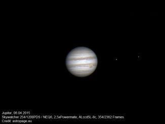 Der Gasriese Jupiter am 6. April 2015, erstellt aus einem Video mit 2.362 Einzelbildern. (astropage.eu)