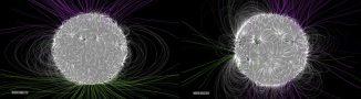 Dieser Vergleich zeigt die relative Komplexität des solaren Magnetfeldes im Januar 2011 (links) und im Juli 2014 (rechts). Im Januar 2011, drei Jahre nach dem solaren Minimum, ist das Feld relativ einfach gestaltet. Im solaren Maximum im Juli 2014 ist seine Struktur viel komplexer - ideale Bedingungen für Sonneneruptionen. (NASA / Goddard Space Flight Center / Bridgman)