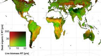 Globale Karte der durchschnittlichen Verweildauer von Kohlenstoff in lebender Biomasse und totem organischen Kohlenstoff in Kohlenstoffspeichern auf der ganzen Welt, angegeben in Jahren. (A. Anthony Bloom)