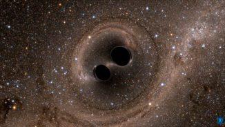 Computersimulation zweier Schwarzer Löcher, die miteinander verschmelzen. (LIGO Science Collaboration / Caltech / MIT)