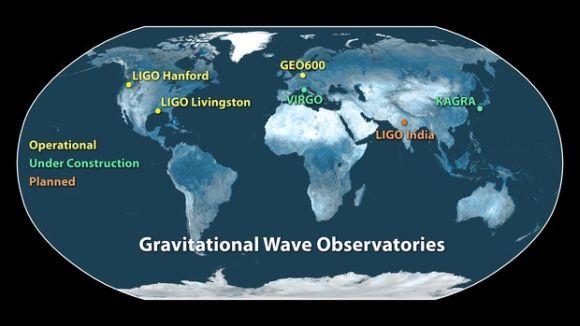 Auf dieser Karte sind die Standorte der einsatzbereiten Detektoren, sowie die im Bau befindlichen und die geplanten Detektoren zu sehen. (LIGO Scientific Collaboration / Caltech / MIT)