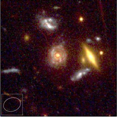 Hubble-Aufnahme von fernen, hellen Radiogalaxien, deren Strahlung von einem sehr großen Galaxienhaufen im Vordergrund gebündelt wird. Die roten Konturen zeigen die Radioemissionen der Galaxien. (NASA HST, and van Weeren et al.)