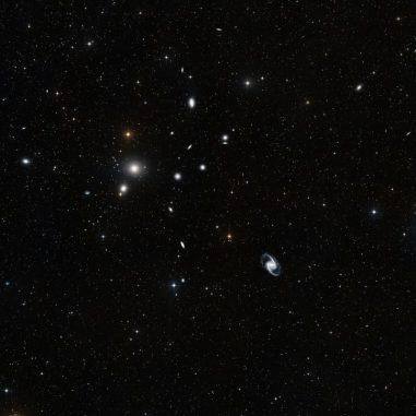 Eine optische Aufnahme des Fornax-Galaxienhaufens. (ESO and the Digitized Sky Survey 2)