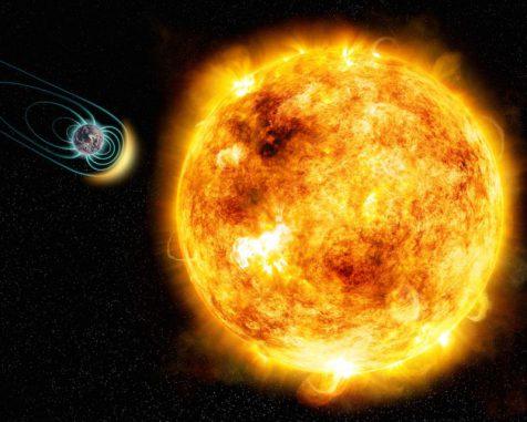 Künstlerische Darstellung des jungen Sterns Kappa Ceti mit einem potenziellen umkreisenden Planeten. Die Größen und der Abstand der Himmelskörper sind nicht maßstabsgerecht. (M. Weiss / CfA)