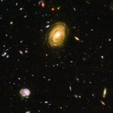 Sternbildende Galaxien im fernen Universum. (NASA, ESA and Bahram Mobasher)