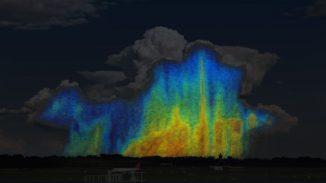 Dieses schematische Bild zeigt, wie die Größe und Verteilung von Regentropfen innerhalb eines Sturms variiert. Blau und Grün markieren kleine Regentropfen zwischen 0,5 und 3 Millimetern Größe. Gelb, Orange und Rot repräsentieren größere Regentropfen zwischen 4 und 6 Millimetern. Ein Sturm mit einem höheren Anteil an Gelb, Orange und Rot wird mehr Wasser enthalten als einer mit mehr blauen und grünen Gebieten. (NASA / Goddard)