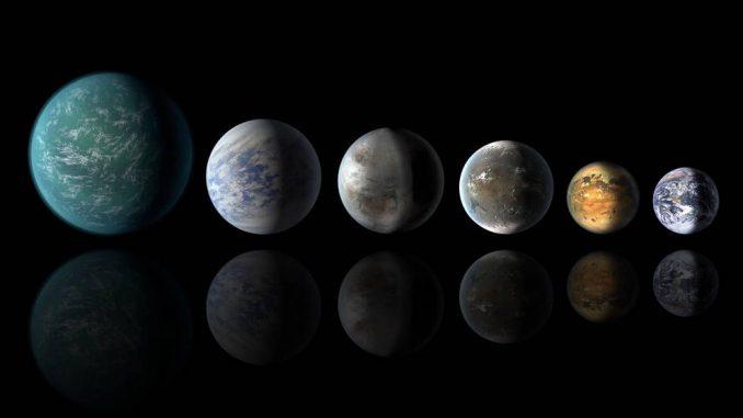 Diese Illustration zeigt mehrere bekannte Exoplaneten, die in den habitablen Zonen ihrer Zentralsterne liegen, verglichen mit der Erde (rechts). Von links nach rechts: Kepler-22b, Kepler-69c, Kepler-452b, Kepler-62f, Kepler-186f und unsere eigene Erde. (NASA / Ames / JPL-Caltech)