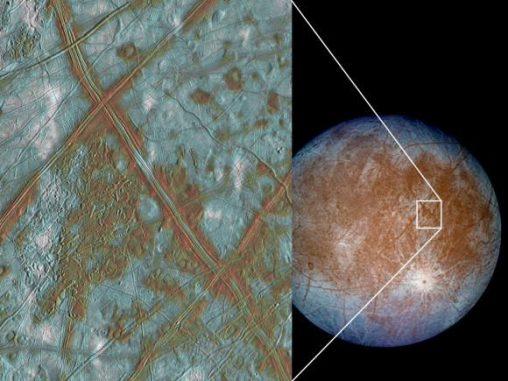 Falschfarbenaufnahme der Oberfläche Europas. Das kleine Bild zeigt Regionen, in denen die Krustenplatten anscheinend aufgebrochen und an neue Positionen gedrückt wurden. (NASA / JPL)