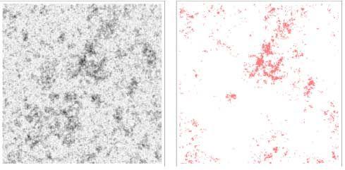 Eine schematische Illustration des Zipfschen Gesetzes für Galaxien oder Städte. Links sieht man eine simulierte Bevölkerungsverteilung mit dunkleren Stellen, die eine höhere Dichte anzeigen. Rechts sind die Orte dargestellt, an denen die Dichte einen kritischen Wert übersteigt. Die Verteilung der pinkfarbenen Regionen stimmt mit dem Zipfschen Gesetz überein. (Lin and Loeb, 2016)