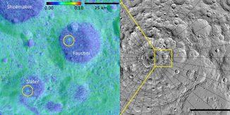 Neue Daten des LAMP-Instruments haben zwei geologisch junge Einschlagkrater auf dem Mond enthüllt. Einer ist rund 16 Millionen Jahre alt (rechts), der andere zwischen 75 und 420 Millionen Jahre (links). Einer von ihnen liegt im Krater Slater, benannt nach dem verstorbenen Dr. David C. Slater, der das LAMP-Instrument entwarf und konstruierte. (Albedo map credit: NASA GSFC / SwRI; Topographic map credit: NASA GSFC / ASU J moon)
