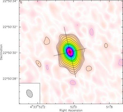 Diese Falschfarbenaufnahme zeigt die Gas- und Staubscheibe um den Stern CI Tau in Submillimeterwellenlängen. (Image courtesy of Stephane Guilloteau / University of Bordeaux)