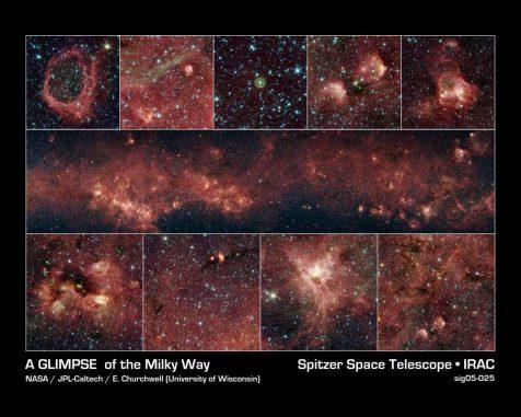 Infrarotpanorama eines Teils der galaktischen Ebene, basierend auf Daten des Weltraumteleskops Spitzer. (NASA / JPL-Caltech / University of Wisconsin)