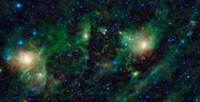 SH 2-209 (links), BFS 34 (Mitte) und NGC 1491 (rechts) sind Nebel im Sternbild Perseus. (NASA / JPL-Caltech / UCLA)